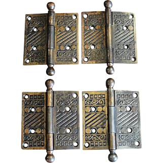 Victorian 3 ½ x 3 ½ Inch Cast Iron Door Hinges with Ball Tips