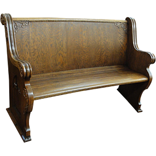 Antique Oak Church Pew with Carving Nice Small Size