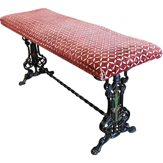 Vintage Cast Iron Fire Side Bench with Paw Feet