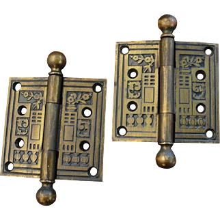 Victorian Aesthetic Iron Door Hinges 3 1/2 by 3 1/2 Inches