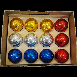 Twelve Vintage Plastic Disco Ball Christmas Ornaments