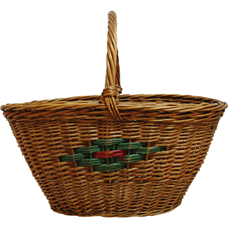 Vintage Hand Woven Gathering Basket with Handle Red and Green