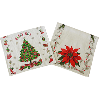 Two Vintage Mid Century Linen Christmas Towels Poinsettia & Tree