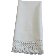 Vintage White Linen Hand Towel with Wide Crocheted Lace