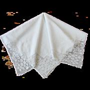 Vintage Linen Tea Cloth with Filet Crochet Lace