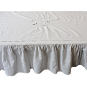 Vintage White Cotton Tablecloth with Embroidery