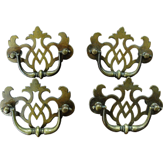 Set of Four Brass Chippendale Style Drawer Pulls Handles