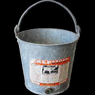 Vintage Galvanized Calf Feeder Bucket Pail for Garden