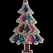 Stunning HOBE Multi-Colored Rhinestone Christmas Tree Pin Brooch
