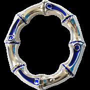 Fab GUCCI .925 Sterling Silver & Cobalt Enamel Bangle Bracelet
