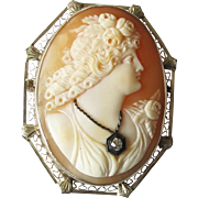 14k White Gold Carved Shell Cameo Habille Pin Brooch - Ringlets & Roses