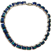 NICE Sterling Silver & Inlaid Lapis Choker - Mexico