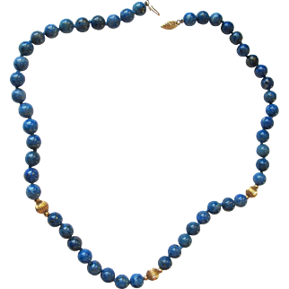Attractive Sodalite Lapis Choker with 14K Gold Beads