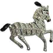 Fun Vintage Coro Rhinestone Circus Horse Zebra Pin