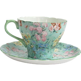 "Shelley England Chintz ""Melody"" Pattern New Cambridge Shape Cup & Saucer"