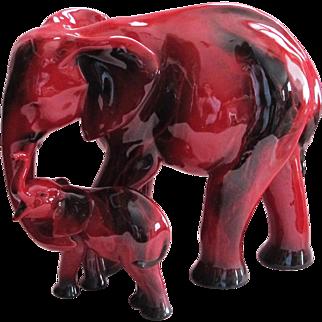 "FAB Royal Doulton Flambe Elephant and Child ""Motherhood"""