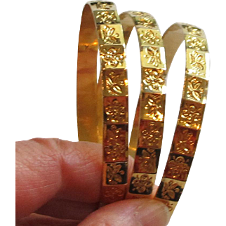 Pretty 18K Gold Bangles (3) with Flowers & Leaves