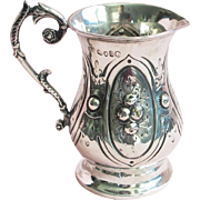 c. 1871 English London Sterling Silver Repousse & Chased Creamer