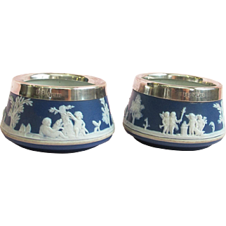 Vintage Dark blue cobalt Wedgwood Salts (2) - Sterling Trim Band