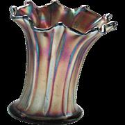 Vintage Northwood Carnival Ribbed Amethyst Vase