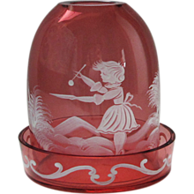 Cranberry Glass Mary Gregory Style Fairy Lamp