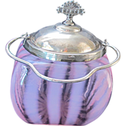 Victorian Era Pink Glass Striped Opalescent Biscuit Jar w/ Plated Lid & Handle