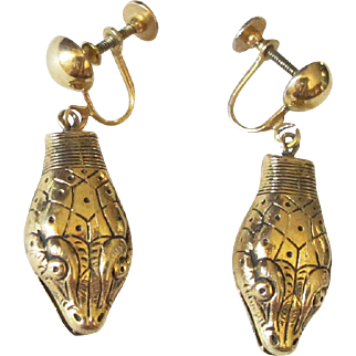 Cool Vintage Whiting & Davis Snake Head Earrings