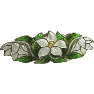Pretty Floral Flower Cloisonne over Sterling Pin - Hallmarked
