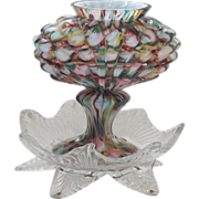 FAB Vintage Czech Cased Spatter Glass Candle Holder / Vase