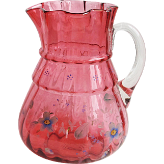 Vintage Cranberry Glass Water Pitcher w/ Flower Decoration