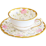 Lovely Miniature Foley England Hand-painted Teacup & Saucer - Roses
