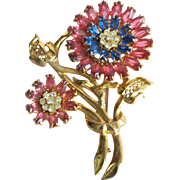 Lovely Vintage Pink & Blue Rhinestone Flower Pin