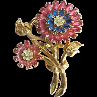 Lovely Vintage Pink & Blue Rhinestone Flower Pin