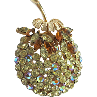 Lovely Vintage Coro Fruit Rhinestone Pin Brooch