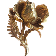 c. 1961 Grosse Germany - Gold Tone Rose Flower Pin