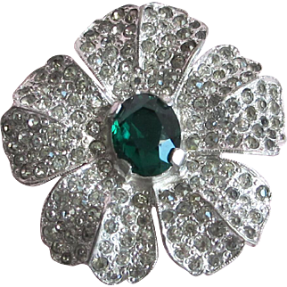 Vintage Rhinestone Flower Fur Clip w/ Green Center Stone