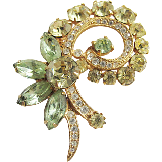 Eisenberg Ice Pin Brooch - Lt. Green, Yellow & Clear Rhinestones in Gold Tone