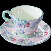 Lovely Shelley Bone China Teacup & Saucer - Henley Shape Summer Glory Pattern