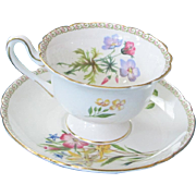 Shelley England Fine Bone Teacup & Saucer - Summer Glory Pattern