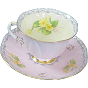 Pretty Shelley Fine Bone China Teacup & Saucer - Footed Dainty - Primrose & Bluebell