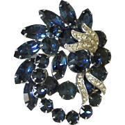 Gorgeous Vintage Eisenberg Sapphire Blue & Rhinestone Pin Brooch