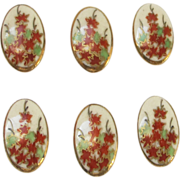 Vintage Japanese Satsuma Buttons - Maple Leaves - Set of 6 - 1/2""