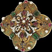 Unusual Vintage HOBE Brooch Pin - Gold Tone w/ Enamel & Faux Stones