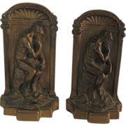 Vintage Solid Bronze Bookends - The Thinker