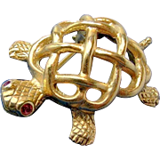 Vintage NAPIER TURTLE Lapel Brooch w/ Red Rhinestone Eye c.1940's, Adorable