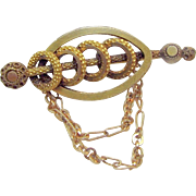 Victorian Edwardian Gilded Brass Collar Brooch Pin w/ Draping Chains c.1900