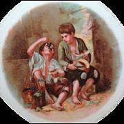 Large Murillo MELON EATERS Scene Cabinet Plate Bavarian Porcelain c.1918