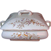 STAFFORDSHIRE Gilded Brown Transferware Covered Server c.1900 Can You Find the Visitors?