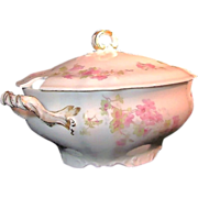 Large LIMOGES' Soup or OYSTER TUREEN of Pink Wildflowers by Wm. Guerin c.1900