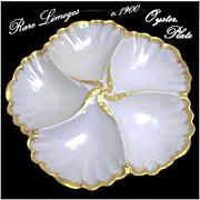 c.1900 Rare LIMOGES Gilded Oyster Plate Tressemann & Vogt / A. Lanternier